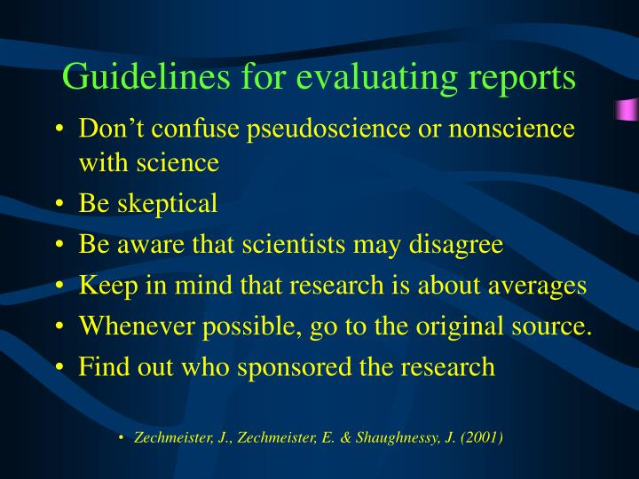 Guidelines for evaluating reports