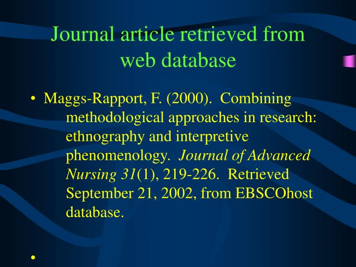 Journal article retrieved from web database