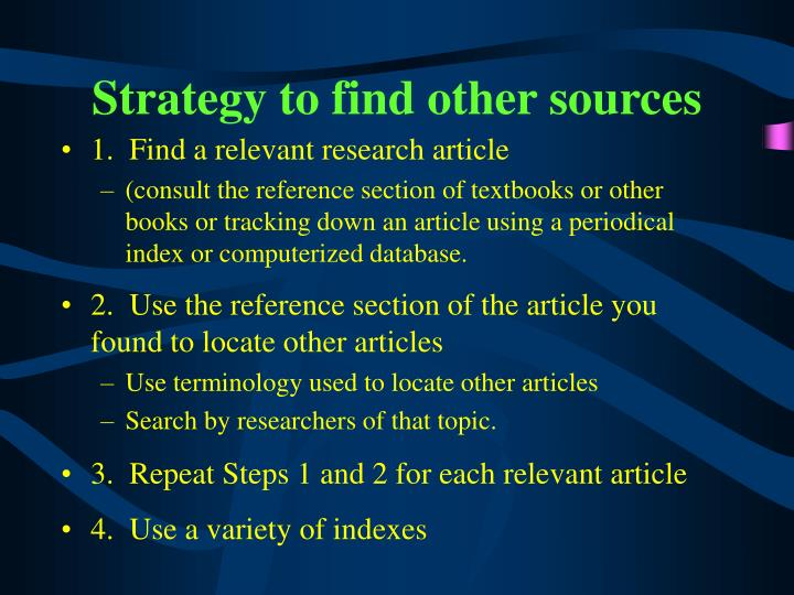 Strategy to find other sources