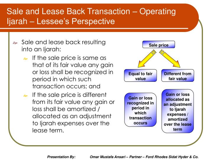 Sale and Lease Back Transaction – Operating Ijarah – Lessee's Perspective