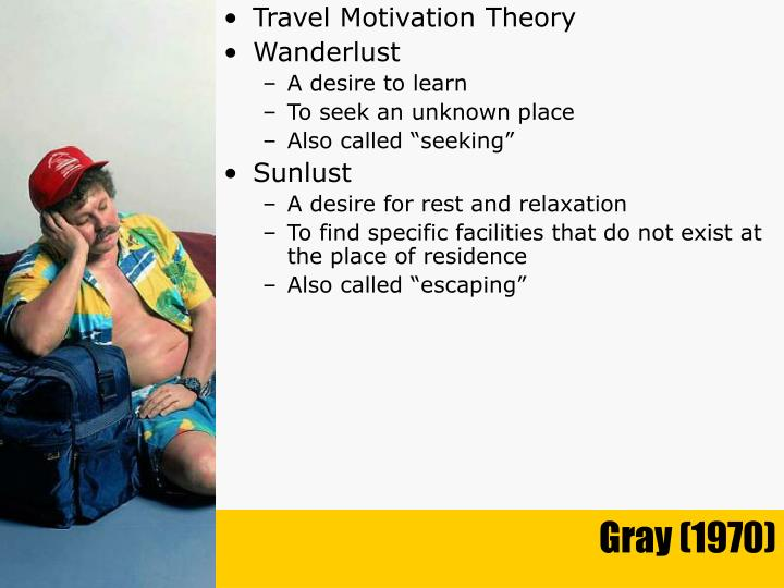 travel motivation theory Learning objectives after reading and studying this chapter, you should be able to: discuss tourists' motivation for leisure travel and tourism.