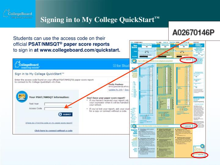 signing in to my college quickstart n.