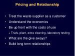 pricing and relationship