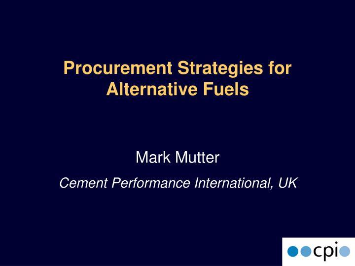 procurement strategies for alternative fuels