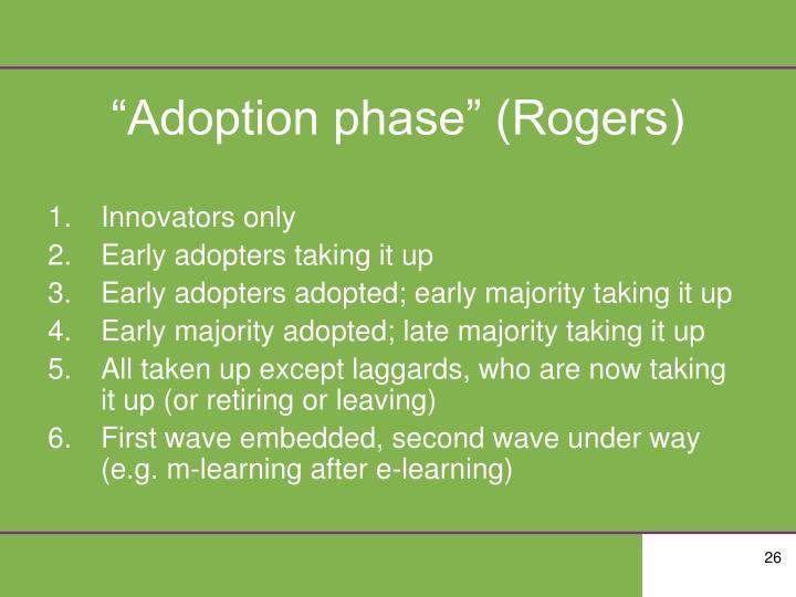 """""""Adoption phase"""" (Rogers)"""