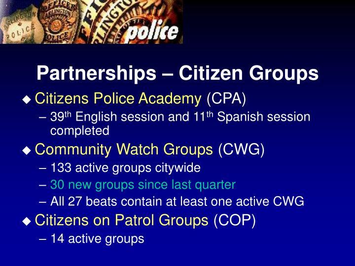 Partnerships – Citizen Groups