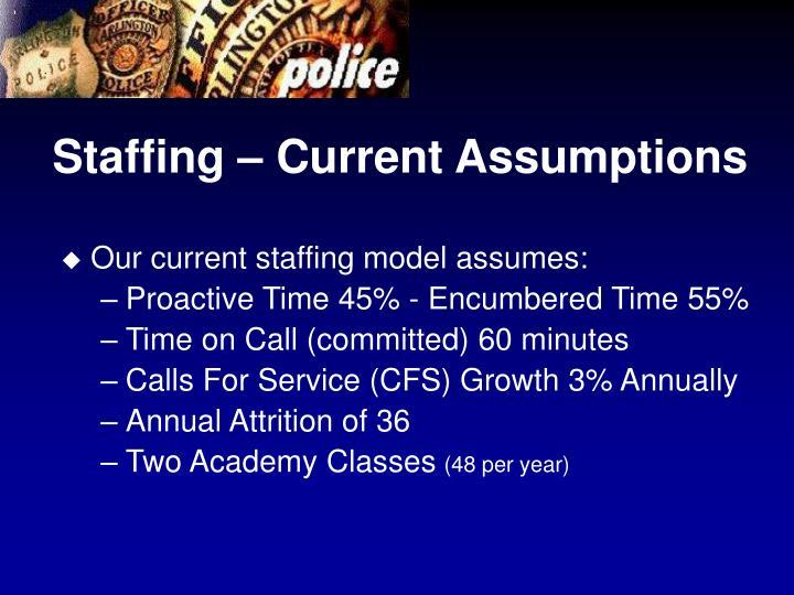 Staffing – Current Assumptions