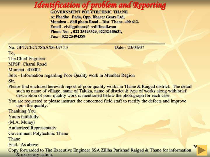 Identification of problem and Reporting