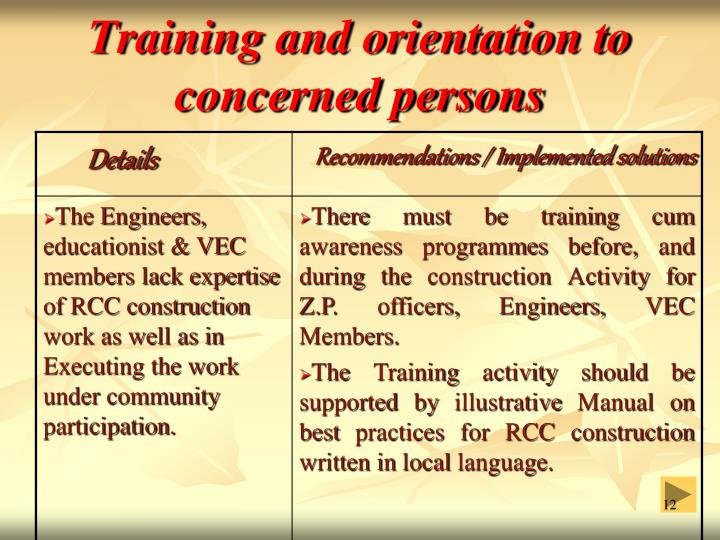 Training and orientation to concerned persons