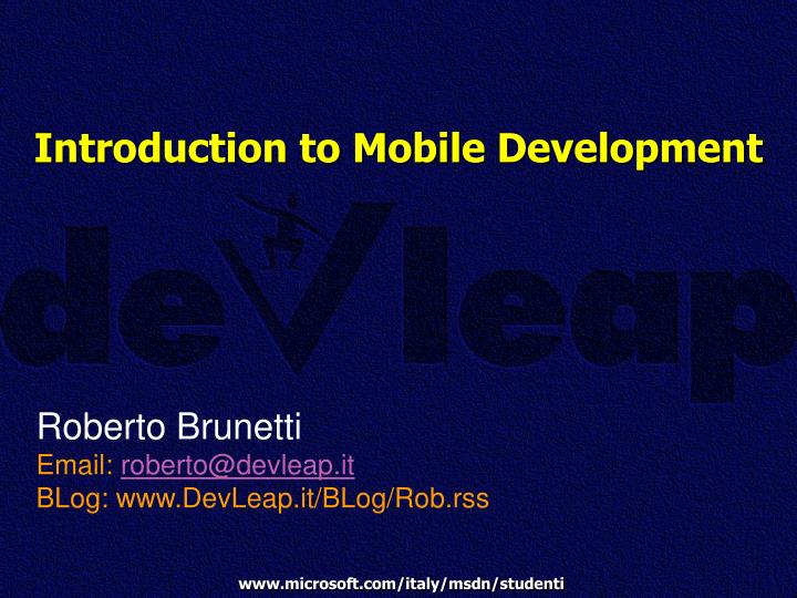 introduction to mobile development n.