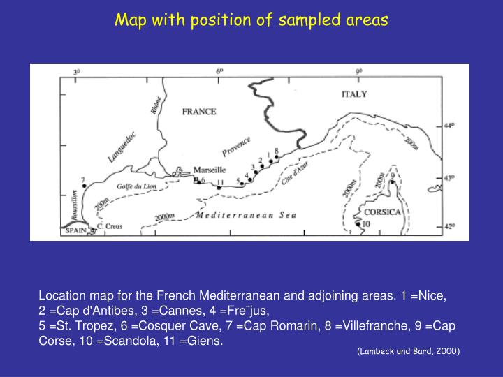Map with position of sampled areas