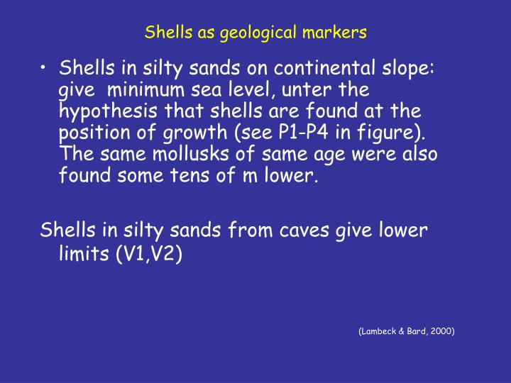 Shells as geological markers