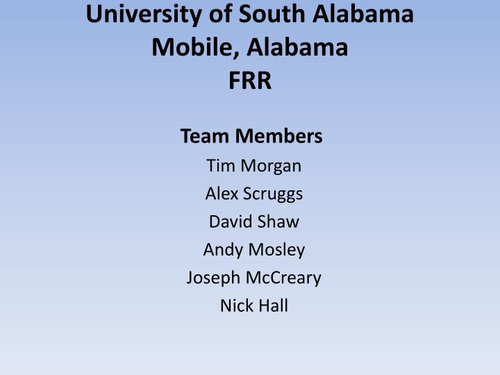 university of south alabama mobile alabama frr