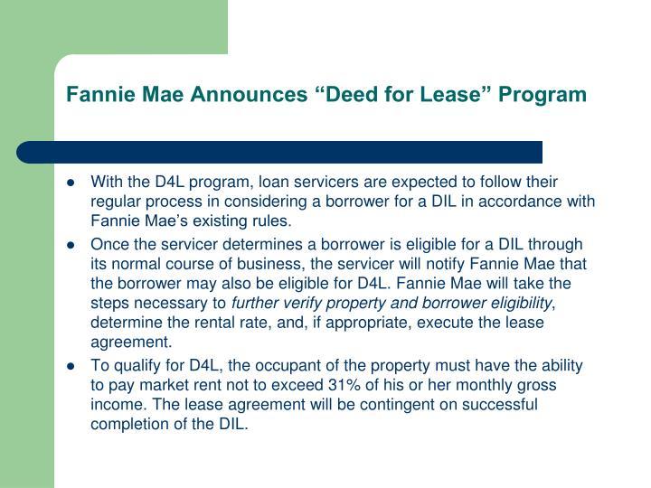 "Fannie Mae Announces ""Deed for Lease"" Program"