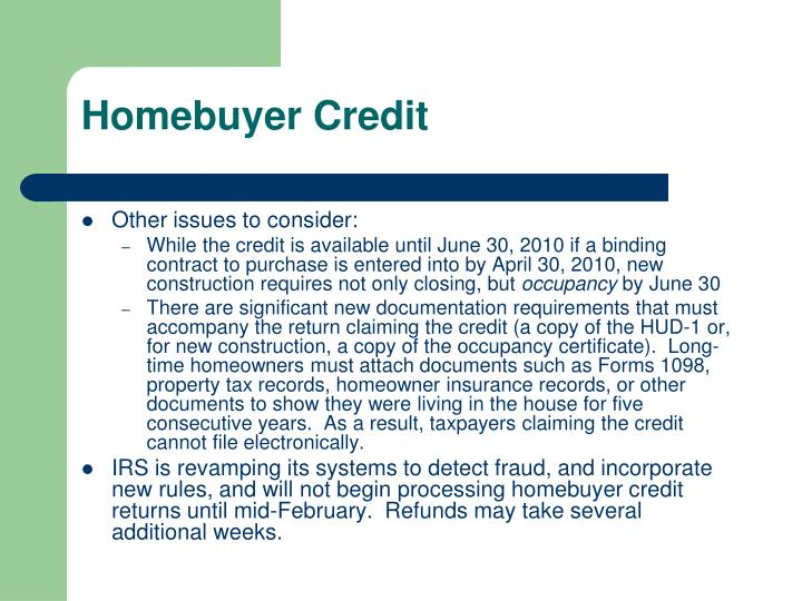 Homebuyer Credit