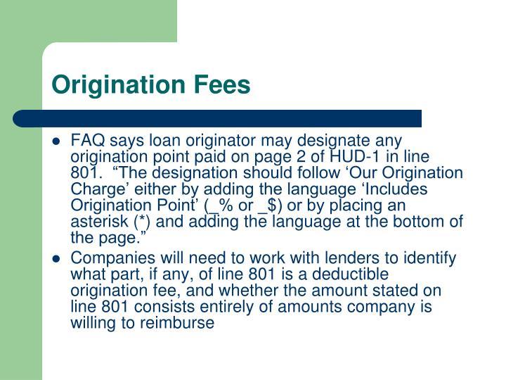 Origination Fees