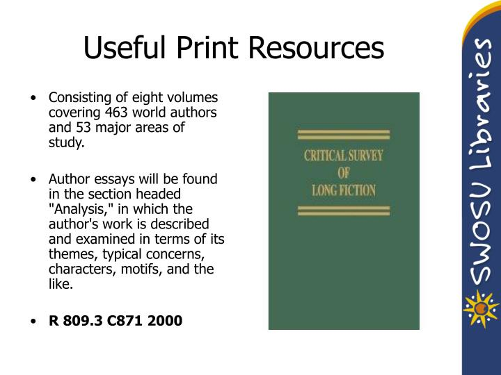 Useful Print Resources