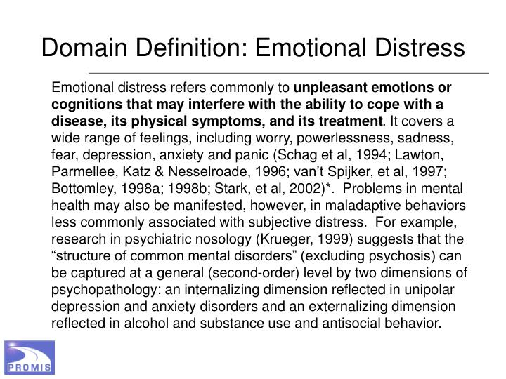 Domain Definition: Emotional Distress