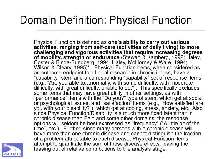 Domain Definition: Physical Function