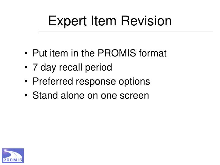 Expert Item Revision