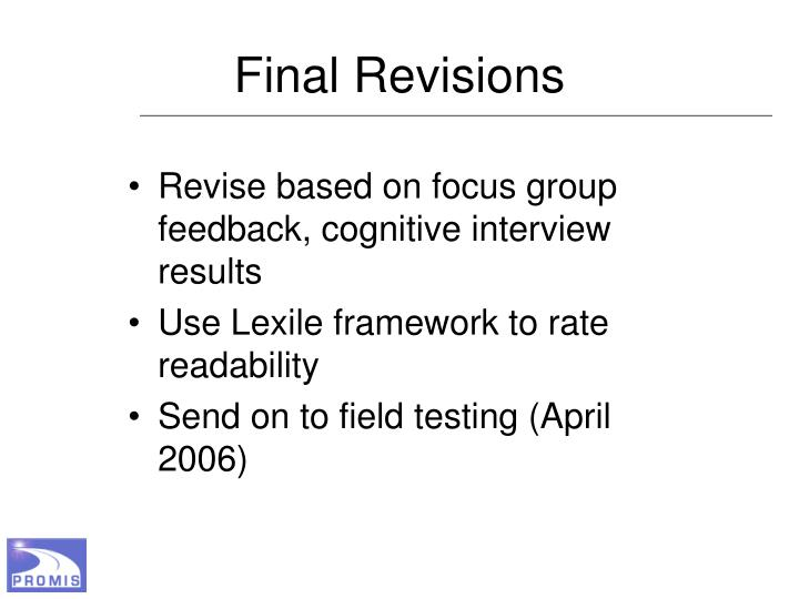 Final Revisions