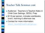 teacher talk seminar cont
