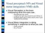visual perceptual vp and visual motor integration vmi skills