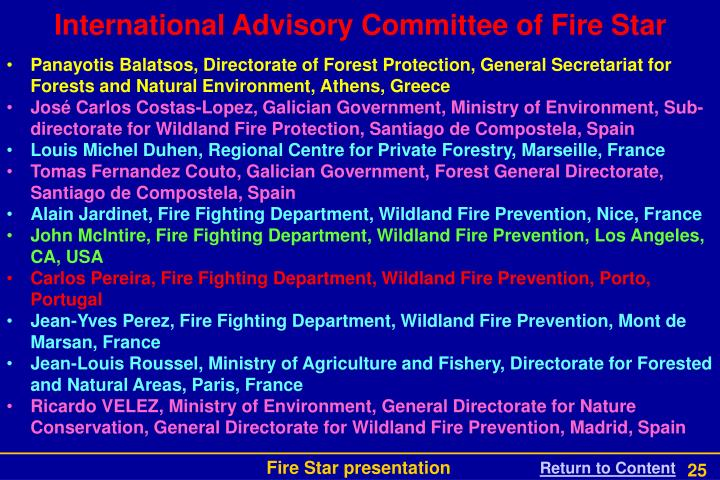 International Advisory Committee of Fire Star