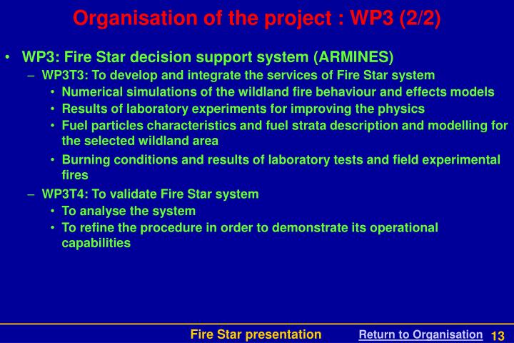 Organisation of the project : WP3 (2/2)
