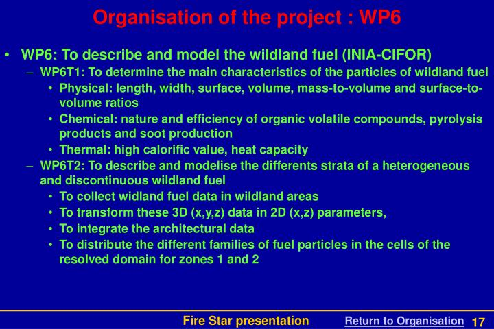 Organisation of the project : WP6