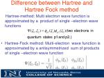 difference between hartree and hartree fock method