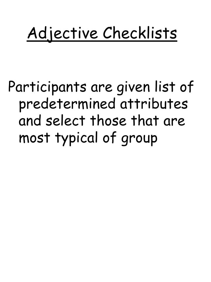 Adjective Checklists