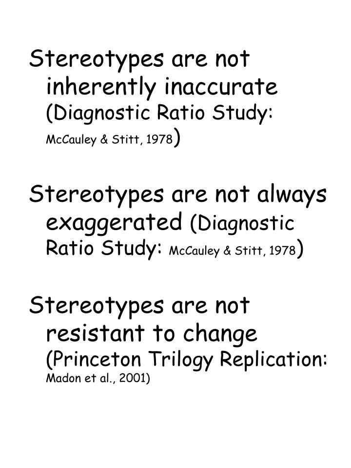 Stereotypes are not inherently inaccurate