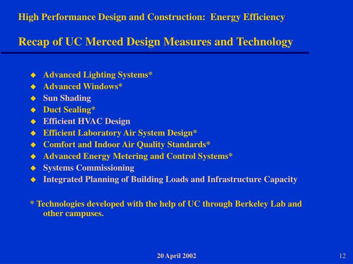 High Performance Design and Construction:  Energy Efficiency