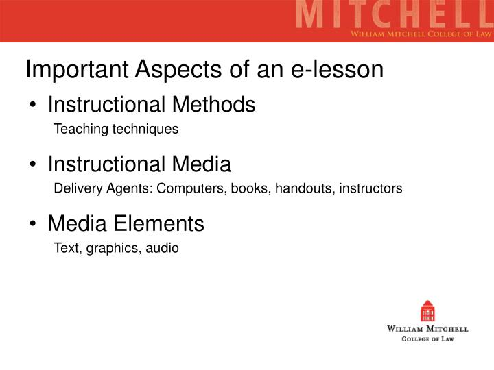 Important Aspects of an e-lesson