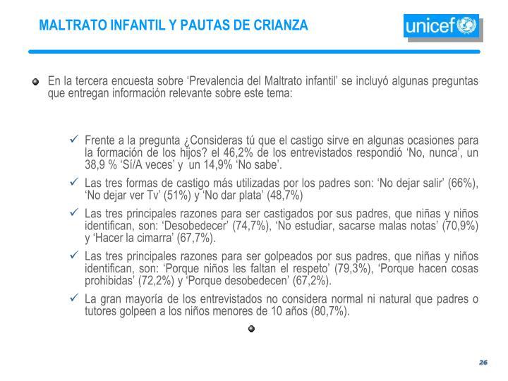 MALTRATO INFANTIL Y PAUTAS DE CRIANZA