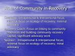 role of community in recovery