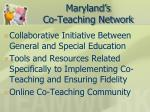 maryland s co teaching network