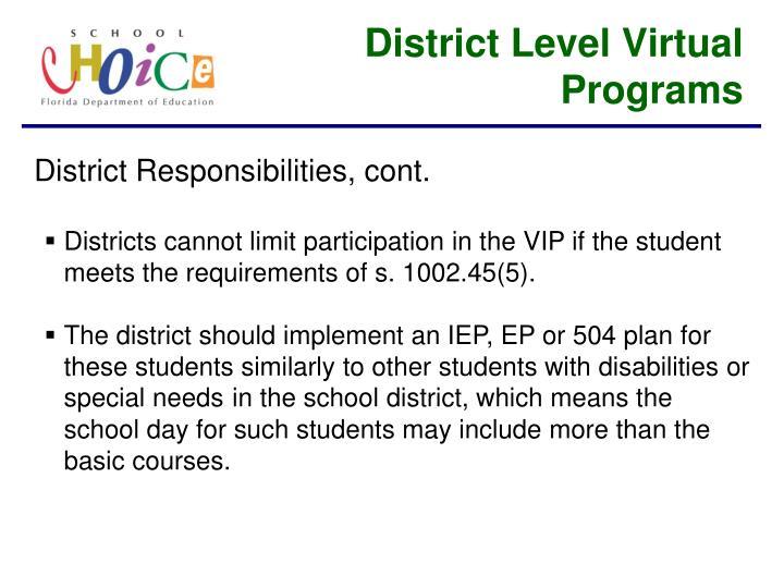 District Level Virtual Programs