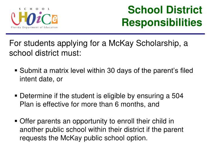 School District Responsibilities