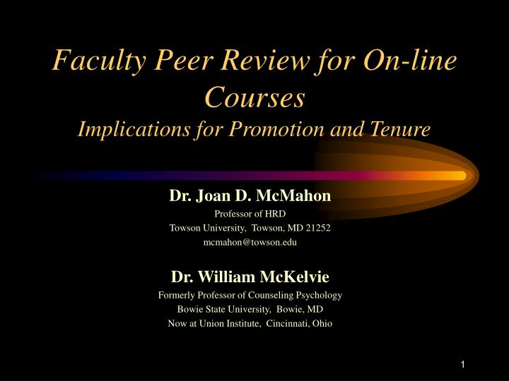 faculty peer review for on line courses implications for promotion and tenure n.