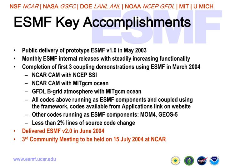 ESMF Key Accomplishments