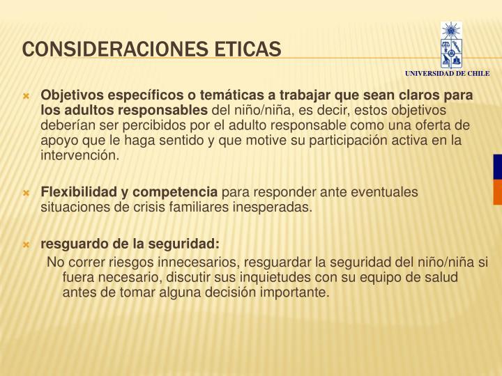 CONSIDERACIONES ETICAS