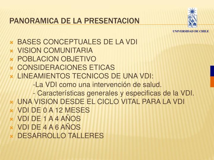 Panoramica de la presentacion