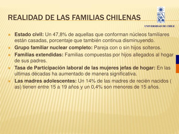 REALIDAD DE LAS FAMILIAS CHILENAS