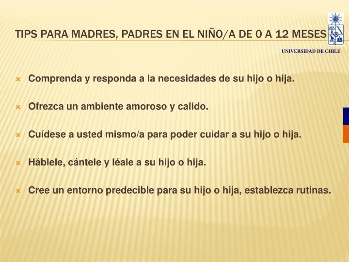 TIPS PARA MADRES, PADRES EN EL NIÑO/A DE 0 A 12 MESES