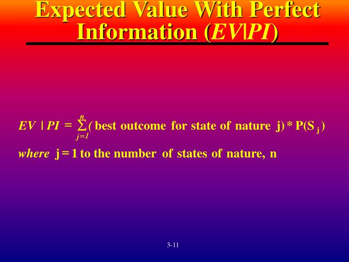 Expected Value With Perfect Information (