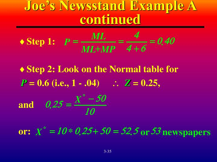 Joe's Newsstand Example A continued