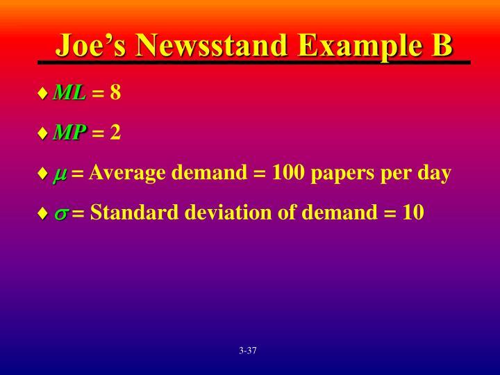 Joe's Newsstand Example B