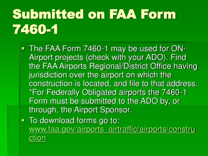 Submitted on FAA Form 7460-1